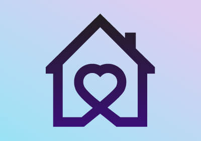 digital image of a purple house with a purple heart in the middle