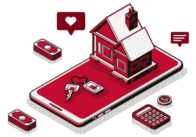 digitally made graphic of a red house placed on top of a red smart phone that is laid flat