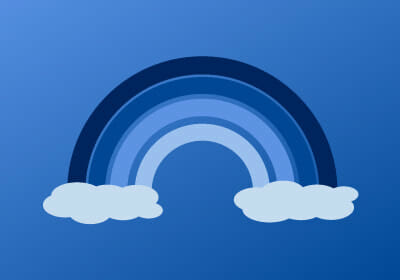 digital image of a rainbow in shades of blue and two white clouds at either end