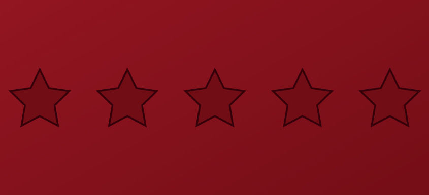 Graphic with dark red background and six horizontals stars outlined in black