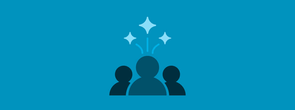Blue background with light blue stars above people silhouttes