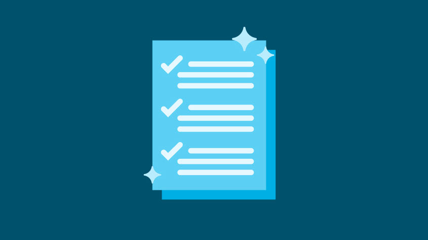 Graphic design of light blue documents on a dark blue background