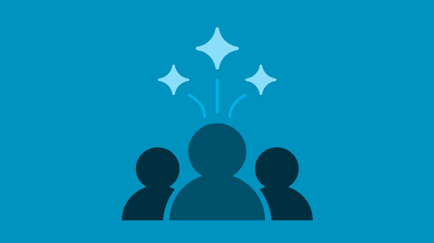 dark blue icon of 3 people watching fireworks on a light blue background