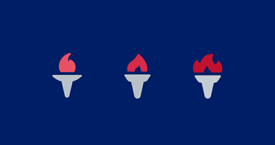 dark blue rectangle graphic with three icons of torches